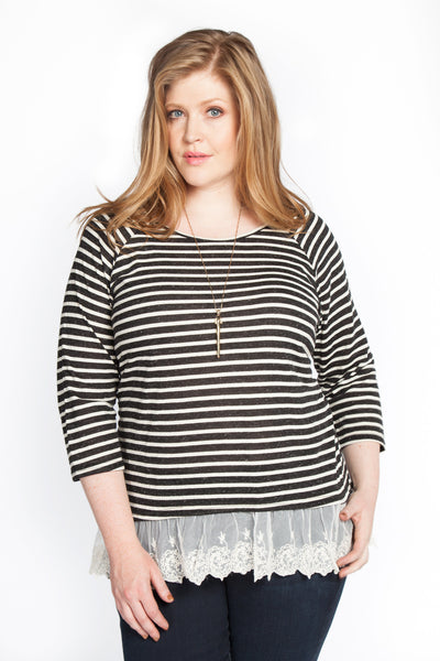 Striped Top with Peek of Lace