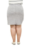 Grey Faux Wrap Skirt