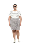 plus size faux grey wrap skirt junarose