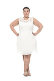 white a-line lace plus size dress