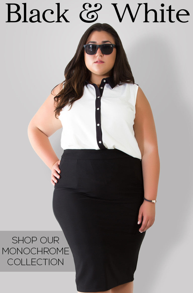 plus size black and white clothes