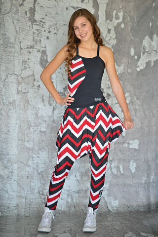 Punkz Red, Black + White Chevron Print Pants