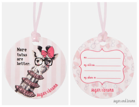Giraffe Tutus Luggage Tags