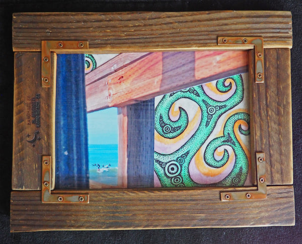 art abstract surfing surf custom frame collage mixed media