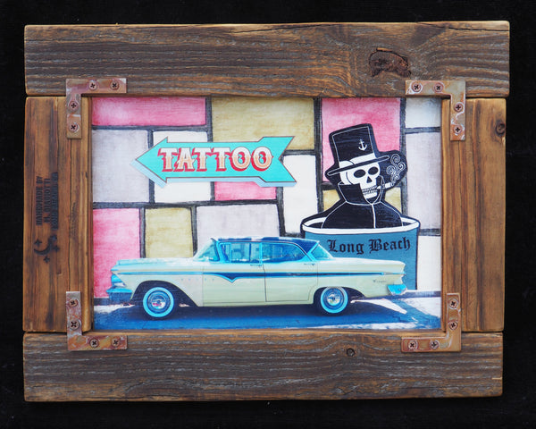 outsider low brow art. tattoo. skull. oilbeach. long beach.