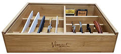 Master Case Bamboo Counter Top Barber Stylist Tool Organizer Tray For Straight Razors, Blades, and Combs