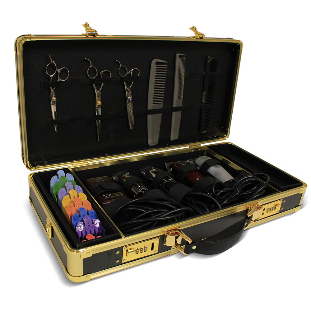 Barber Case Black & Gold, Tool Kit with Gold Trim