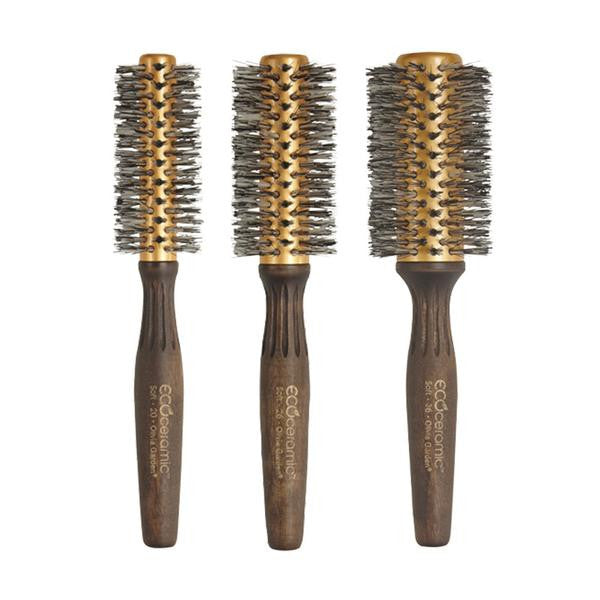 "Olivia Garden Eco Ceramic Brush Boar & Nylgard Bristles Box Deal (contains 1 each: EC-20S 1 3/4"", EC-26S 2 1/8"", EC-36S 2 1/2"")"