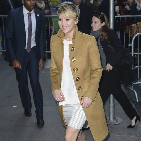 jennifer lawrence coat, camel coat, discount coat