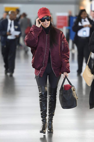 kourtney kardashian, bomber jacket, burgundy jacket