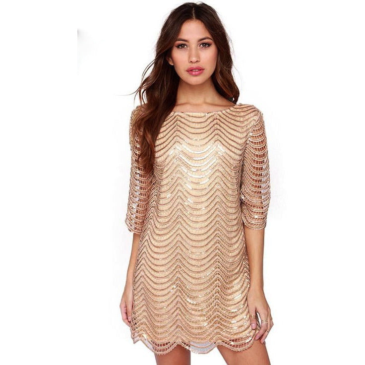 Sequin Strand Shift Dress With Sleeves Dresses, Arissa:Kandis Online Shop, Arissa : Kandis
