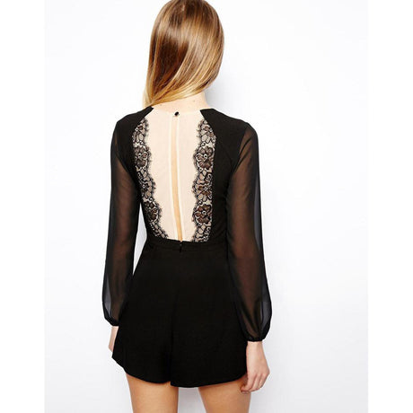 Too Sexy Black Lace V Neck Romper with Sheer Panel Romper and Jumpsuit, Arissa:Kandis Clothing, Arissa : Kandis