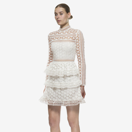 High Neck Star Lace Paneled Dress Dresses, 蘑菇精灵女装, Arissa : Kandis