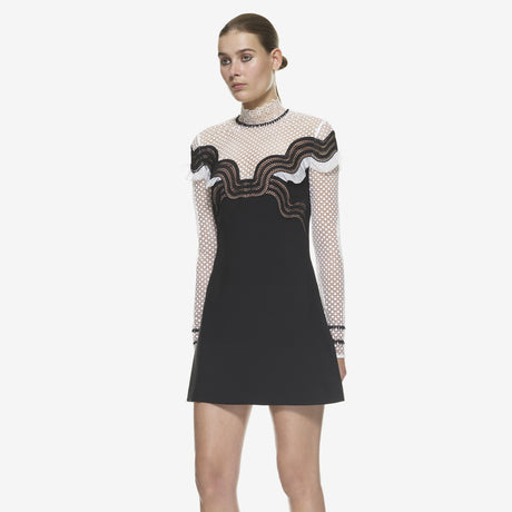 Black Wave Trim Mini Dress Monochrome Dresses, 蘑菇精灵女装, Arissa : Kandis