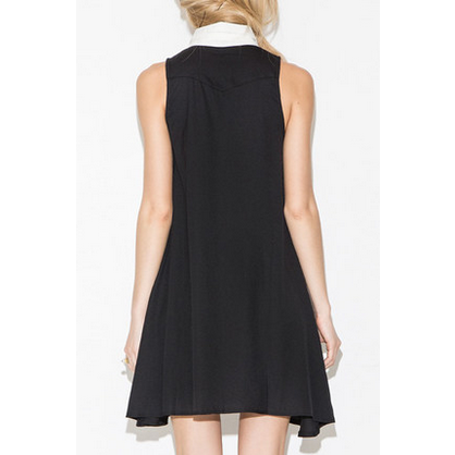 White Collar Neck Tie Black Shift Dress Dresses, Arissa:Kandis Online Shop, Arissa : Kandis