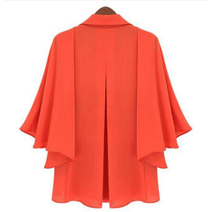 Orange Collar Poncho Wide Sleeves Shirt Tops, Arissa:Kandis Online Shop, Arissa : Kandis