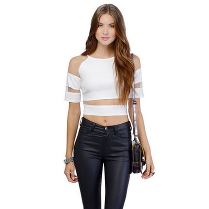 Illusion Sleeve Banded Crop Top Tops, Arissa:Kandis Online Shop, Arissa : Kandis