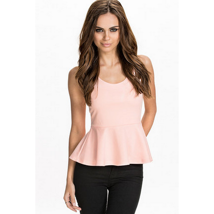 Sexy Cross Back Peplum Shirt Tops, Arissa:Kandis Online Shop, Arissa : Kandis