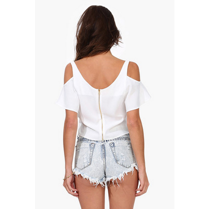 Peekaboo Cutout Shoulder Crop Top Tops, Arissa:Kandis Online Shop, Arissa : Kandis