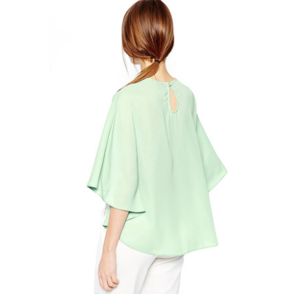 Light Green Poncho Cropped Top Tops, Arissa:Kandis Online Shop, Arissa : Kandis