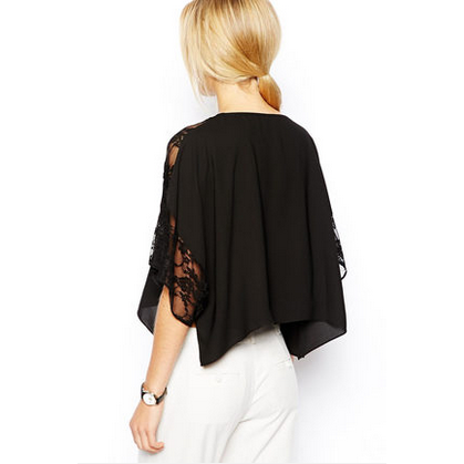 Lace Illusion Poncho Shirt Tops, Arissa:Kandis Online Shop, Arissa : Kandis