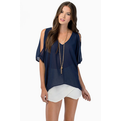 Navy Chiffon Open Sleeve Shirt Tops, Arissa:Kandis Online Shop, Arissa : Kandis