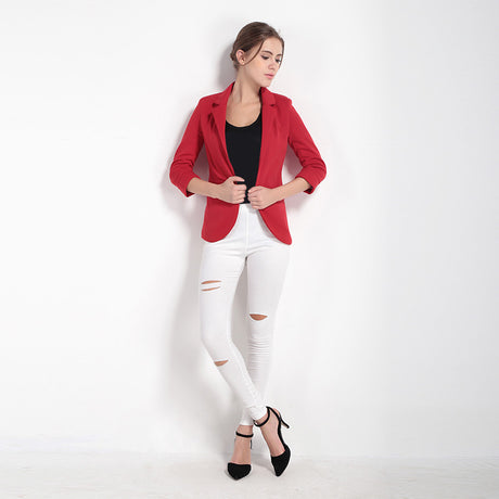 Rolled Sleeves Notched Lapel Blazer