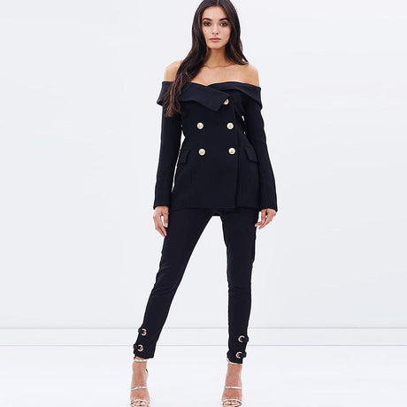 Off-Shoulder Double Botton Blazer