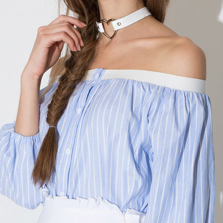 Off Shoulder Bubble Sleeve Shirt