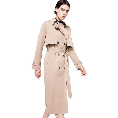 Camel Color Khaki Belted Trench Coat
