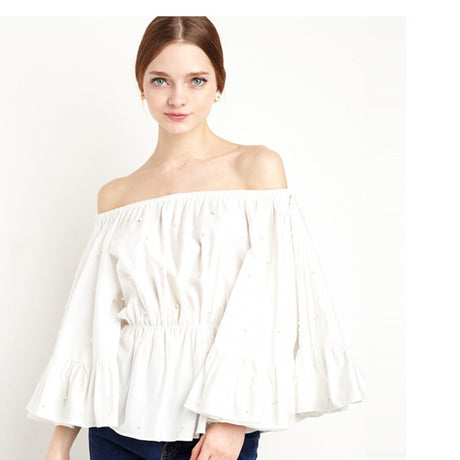 Off Shoulder Ruffles Peasant Shirt