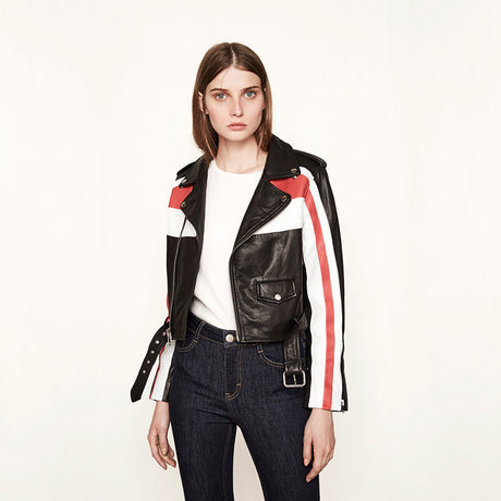 Color Block Faux Leather Bomber Jacket
