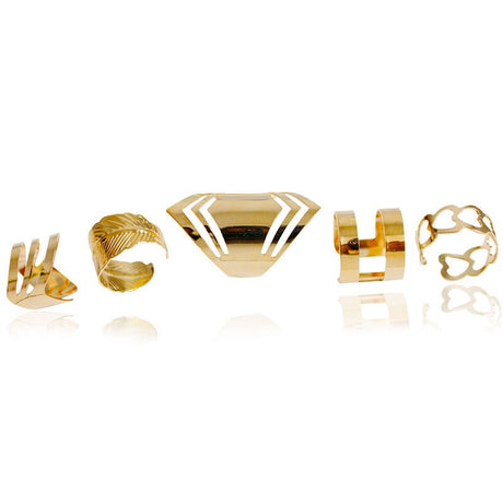 Gold Plated 5pcs Ring Set Jewelry, Arissa : Kandis , Arissa : Kandis