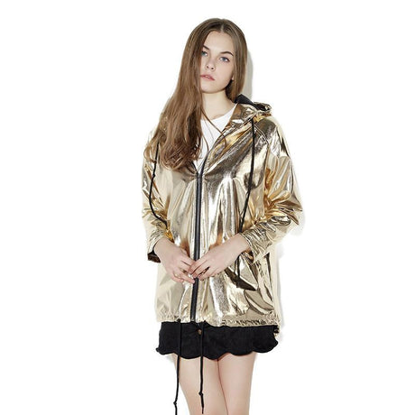Hooded Metallic Gold Jacket