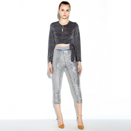Metallic Silver Sequin Sweatpants