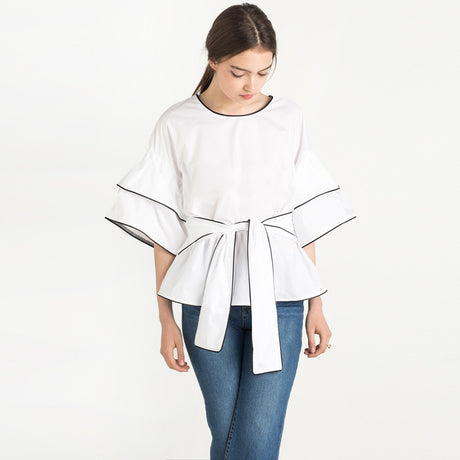 Wide Sleeve Waist Tie Shirt