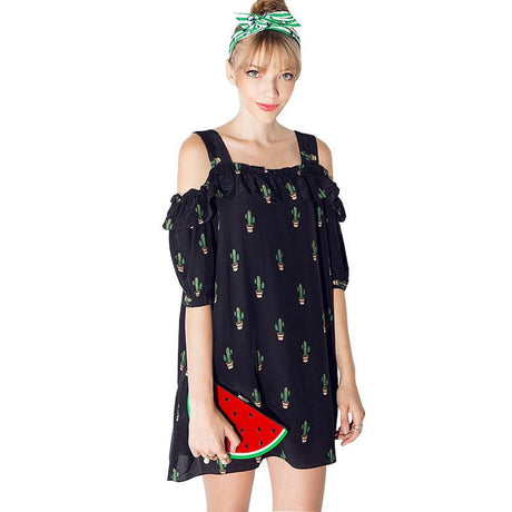 Pineapple Off-Shoulder Shift Dress