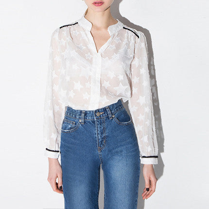 Sheer Star Pattern Black Hem Shirt