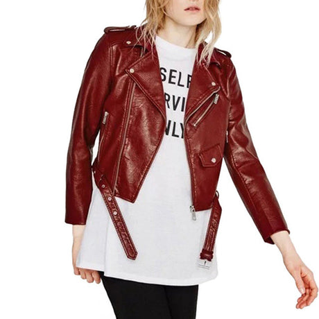 Burgundy Faux Leather Bomber Jacket