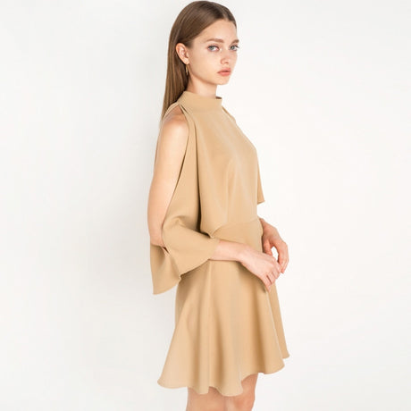 Camel Batwing Sleeve A-line Dress