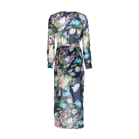Floral Print V Neck Long Sleeve Dress
