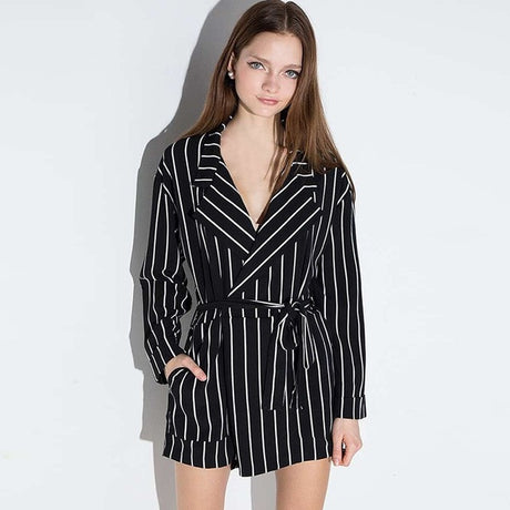 Long Sleeves Striped Tie-Waist Romper