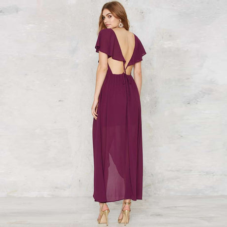 V Neck Cap Sleeve Chiffon Dress