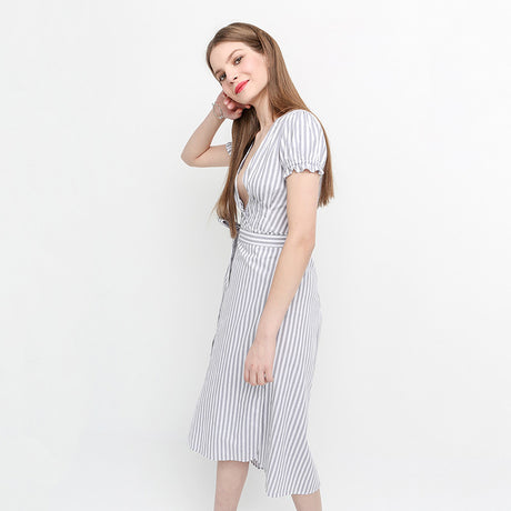 Cap Sleeve Striped Waist Tie Shirt Dress