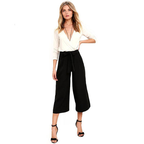 High Waist Wide Leg Capris Pants