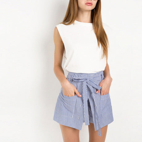 High Waist Striped Skort Shorts