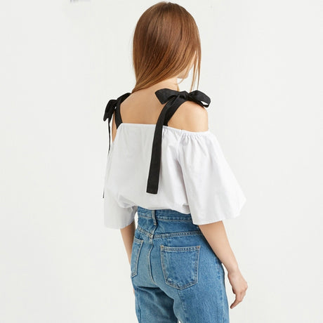 Bow-tie Black Strap White Off-Shoulder Shirt