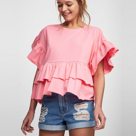 Loose Ruffle Butterfly Sleeve Shirt