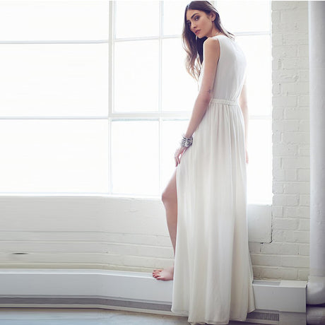 Sexy Grecian Daring Split Maxi Dress