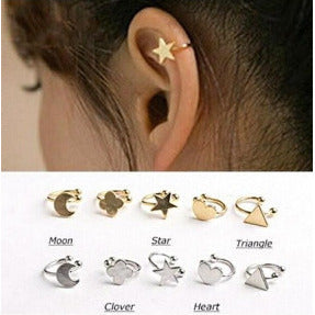 Moon, Star, Triangle, Clover, Heart Clip On Stud Earrings Jewelry, Arissa : Kandis , Arissa : Kandis